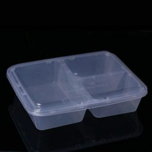 1200cc Rectangular Food Container 3 Section (100sets)