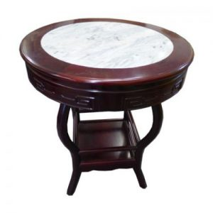 (T1) Dark Mahogany Round Table with Marble Top