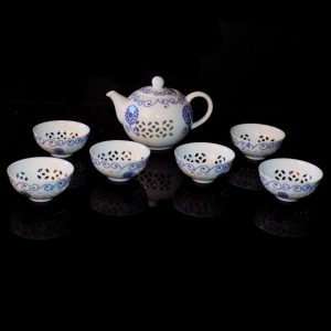 (QT16) Mini Tea Set - Blue Pattern with Glass Overlay