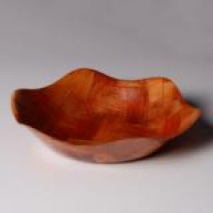 (FA06) Woven Wood Bowl,Petal Shape