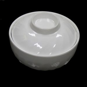 "(PC001) 6"" White Plastic Bowl & Lid with S/Steel Bowl"