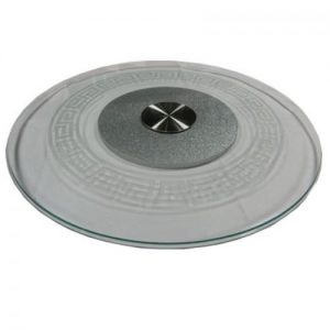 "24"" (60cm) Small Clear Glass Turntable with Grid Pattern"