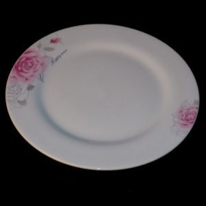 "10"" Pink Rose Patterned Plate with Metallic Gold (Vitrified)"