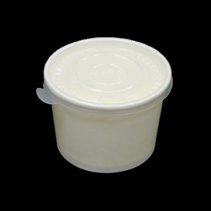 12oz White Heavy Duty Paper Container with Plastic Lid - (500pcs)