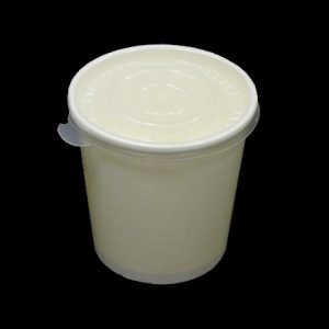 16oz White Heavy Duty Paper Container with Plastic Lid - (500pcs)