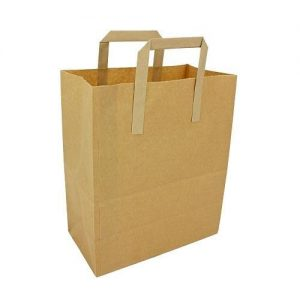 Brown Kraft Paper Takeaway Carrier Bags (L) (500pcs)