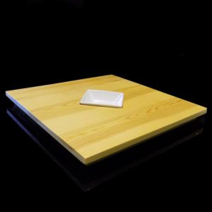 Square Wooden Plank with Saucer