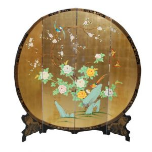 4 Panel Round Screen (Gold Plant)