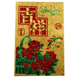 Deluxe Gold Packet Envelope with Sticker (6pcs) (Flowers)