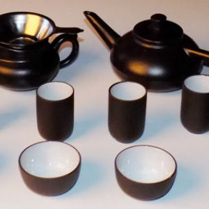 Mini Tea Set - Dark Brown Clay Ceramic
