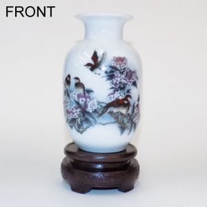 Mini White Vase (Bird and Flowers)