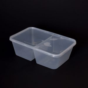 1000cc Rectangular Food Container 2 Section (250sets)