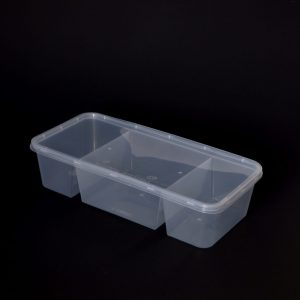 1300cc Rectangular Food Container 3 Section (150sets)