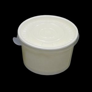 8oz White Heavy Duty Paper Container with Plastic Lid - (500pcs)