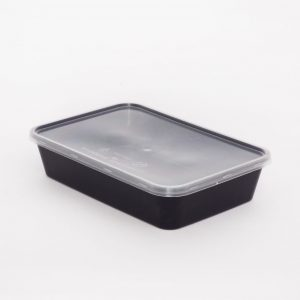 500cc Rectangular Food Container, Black Base with Clear Lid (250sets)