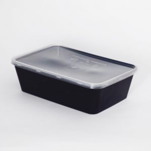 650cc Rectangular Food Container, Black Base with Clear Lid (250sets)
